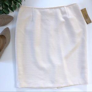 Kasper Pencil Skirt 12P Tweed Back Slit Cream NWT